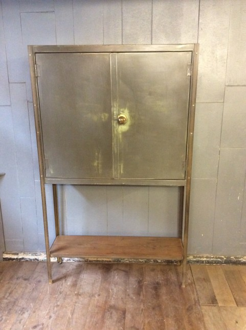 Metal cupboard on stand