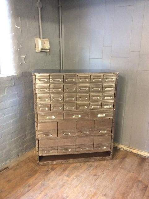 Polished metal multi-drawer cabinet