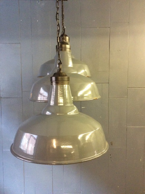 Grey enamel factory light