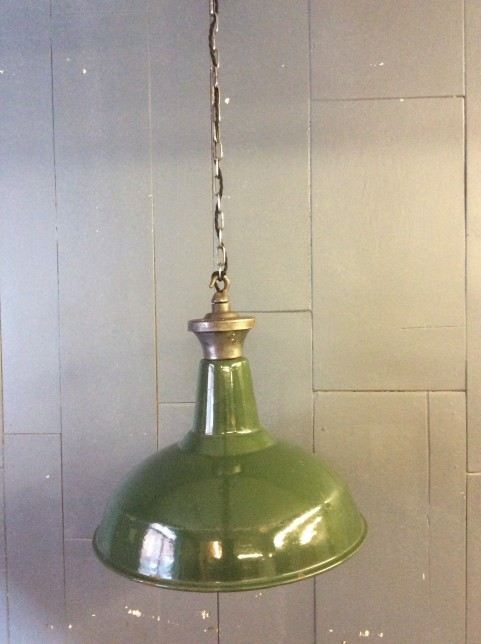 Large green enamel factory light