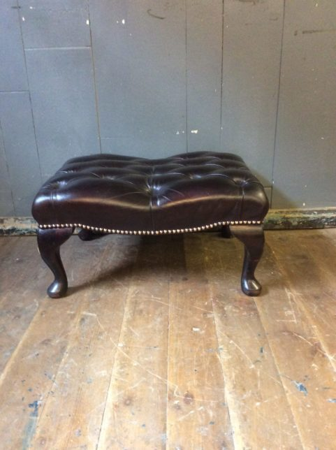 Leather Chesterfield stool