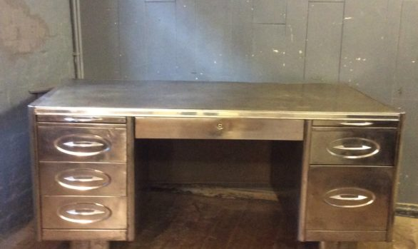1930's Art Deco Polished Steel Desk