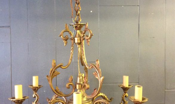 French gilt six arm chandelier