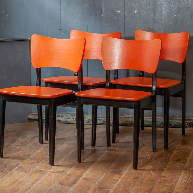 Orange Mid Century Wooden Chairs 4 Available