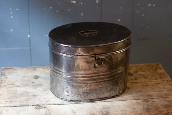 Polished Steel Hat Box