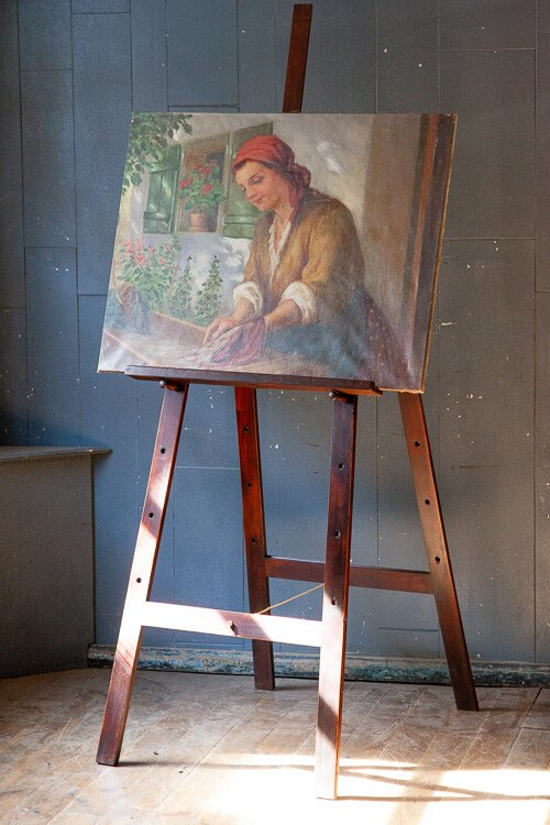 Victorian Oil Painting on Artists Easel