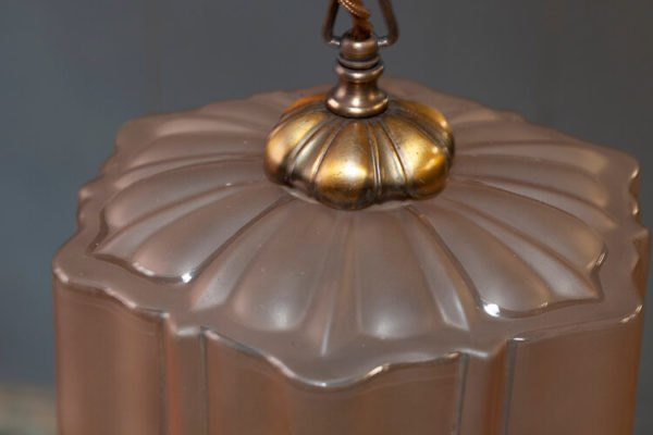 1930's Chain Pendant Light Tinted Glass