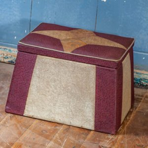 1940's Vinyl Lift Lid Foot Stool Slipper Box