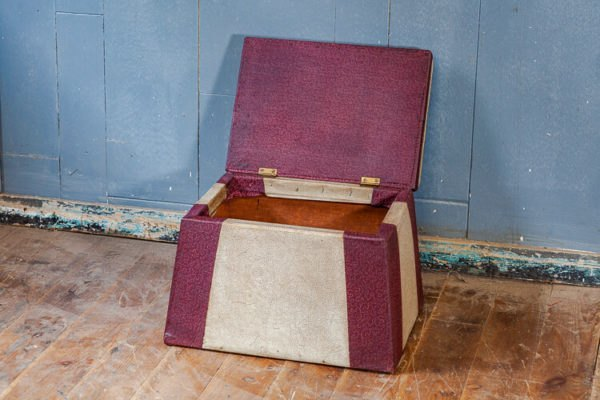 1940's Vinyl Lift Lid Foot Stool Slipper Box Lift Lid