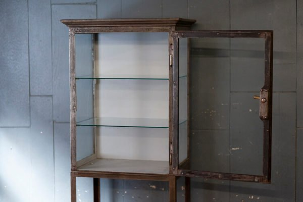 Antique Glass Shelving Cabinet Door Open