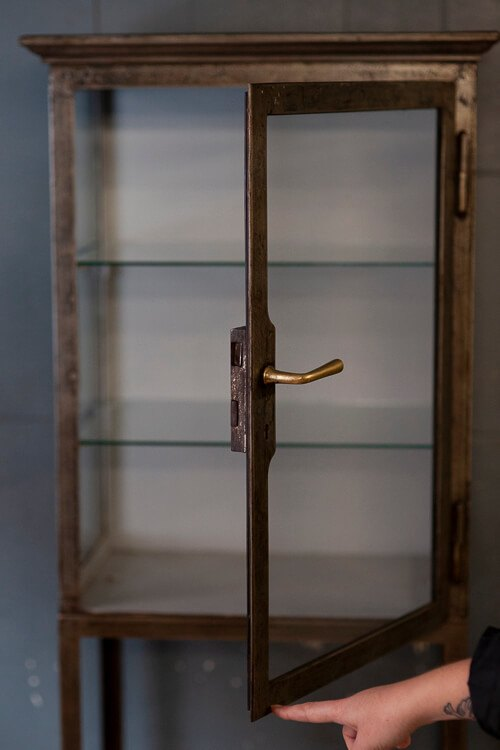 Antique Glass Shelving Cabinet Door