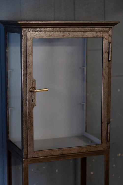 Antique Glass Shelving Cabinet on Stand