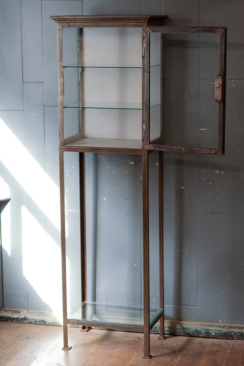 Antique Glass Shelving Cabinet