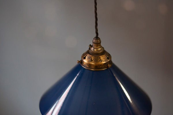 Blue Glass Coolie Pendant Cord Suspension