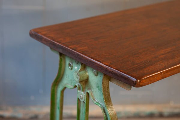 Cast Iron Console Pioneer Table Wooden Top