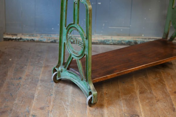 Cast Iron Console Pioneer Table on Wheels