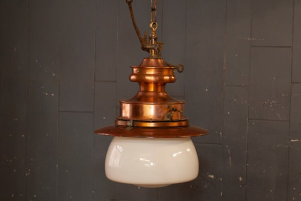 Converted Gas Station Hanging Light Copper