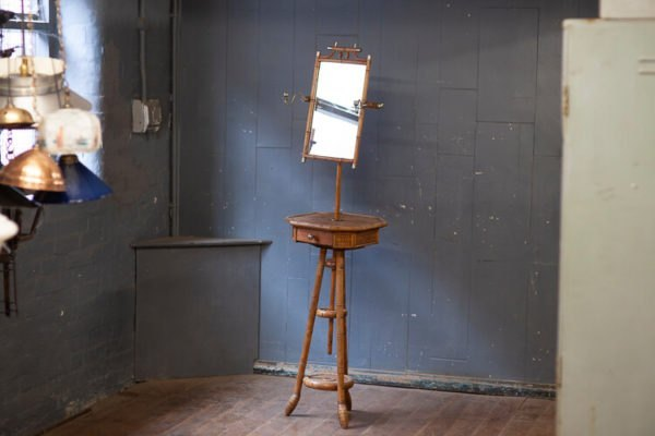 Edwardian Faux Bamboo Vanity Stand Mirror