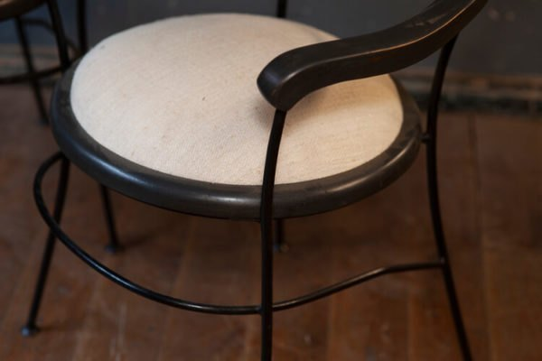 French Mid Century Café Chairs Antique Linen