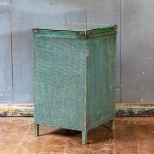 Glass Top Wicker Laundry Basket Green