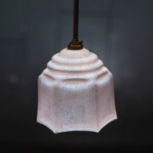 Pink Glass Pendant on Solid Rod Star Detail