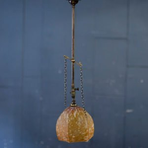 Small Amber Restored Hanging Gas Light