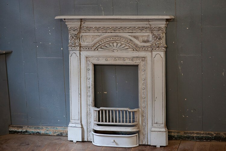 Victorian All in One Fireplace White