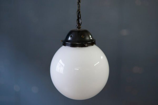 White Glass Globe Chain Ceiling Light