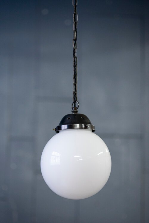 White Glass Globe Chain Ceiling Light Black