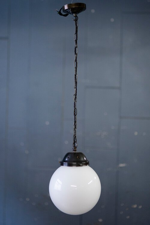 White Glass Globe Chain Ceiling Light Chain Suspension